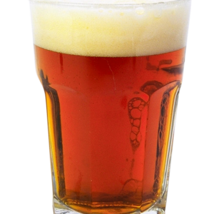 A tall glass of Seasonal craft beer Red Ale Sabrina